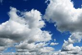 Blue Sky Landscape With White Clouds In The Vast Sky. Sky Landscape Scene. Sky Landscape Of Blue Vas poster