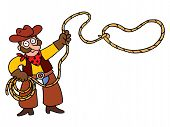 image of lasso  - illustration of cartoon cowboy with lasso - JPG