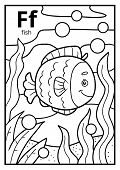 Coloring Book For Children, Colorless Alphabet. Letter F, Fish poster