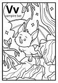 Coloring Book For Children, Colorless Alphabet. Letter V, Vampire Bat poster