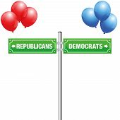 Democrats Or Republicans, Written On Street Signs With Red And Blue Balloons To Choose Ones Favorite poster