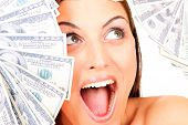 picture of beautiful women  - Young happy woman with dollar notes - JPG