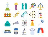 Lab Vector Chemical Test Medical Laboratory Scientific Biology Design Molecule Concept And Biotechno poster