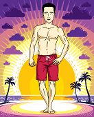 Handsome Brunet Man Is Standing On Sunset Landscape With Palms And Wearing Beachwear Shorts. Vector  poster