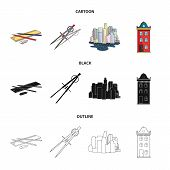 Drawing Accessories, Metropolis, House Model. Architecture Set Collection Icons In Cartoon, Black, O poster