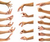 Clipping Path Of Multiple Male Hand Gesture Isolated On White Background. Isolation Of Hands Gesturi poster