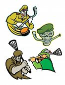 Mascot Icon Illustration Set Of Lacrosse And Ice Hockey Military And Warrior Mascots  Of An Army Gen poster