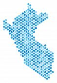 Blue Dotted Peru Map. Vector Geographic Map In Cold Blue Color Hues On A White Background. Vector Mo poster