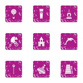 Young Entertainment Icons Set. Grunge Set Of 9 Young Entertainment Vector Icons For Web Isolated On  poster