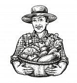 Happy Farmer Holds A Wicker Basket Full Of Fresh Vegetables. Farm, Harvest, Agriculture Concept. Ske poster