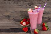 Strawberry Smoothies Juice Beverage Healthy The Taste Yummy In Glass Drink Episode Morning On Wooden poster