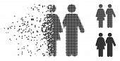 Fractured Adult Pair Dotted Icon With Disintegration Effect. Halftone Pixelated And Undamaged Solid  poster