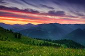 Carpathian Mountains Summer Sunset Landscape With Dramatic Sky And Blue Mountains poster