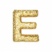 Alphabet Letter E Uppercase. Gold Font Made Of Yellow Cellular Framework. 3d Render Isolated On Whit poster