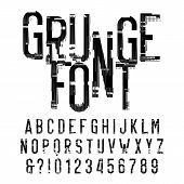 Grunge Alphabet Font. Distressed Type Letters And Numbers On White Background. Vector Typeface For Y poster