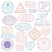Vintage Love Letter Postcard, Valentines Day Postmarks. Stamps With Hearts, Orange Purple Red Blue P poster