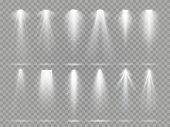 Bright Lighting Projector Beams On Theater Stage. Rays Of Studio Floodlights, White Spotlight Light  poster