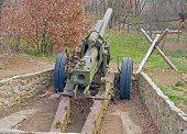 Old German Cannon Of The Period Of Ww2 On Position In The Museum poster