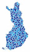 Finland Map Collage Of Randomized Filled Squares In Variable Sizes And Blue Color Tints. Vector Rect poster