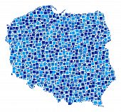 Poland Map Collage Of Random Filled Squares In Various Sizes And Blue Color Tints. Vector Filled Squ poster