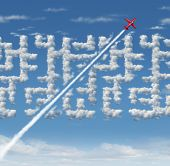 Business Leader Concept As Strategic Innovative Success Thinking As A Plane Finding A Short Cut To A poster