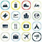 Journey Icons Set With Suitcase, Departure, Suv And Other Metropolis Elements. Isolated Vector Illus poster