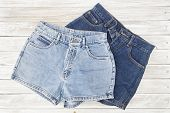Two Vintage Woman Jeans Denim Shorts poster