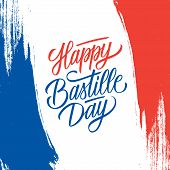 French National Day Greeting Card With Brush Stroke Background In France National Flag Colors And Ha poster