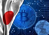 Flag Of Japan Is Shown Against The Background Of Crypto Currency Bitcoin. Global World Crypto Curren poster