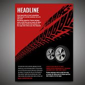 Vector Automotive Banner Template. Grunge Tire Tracks Background For Vertical Poster, Digital Banner poster