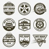 Off-road Suv Car Set Of Vector Monochrome Labels, Emblems, Badges And Logos Isolated On White Backgr poster