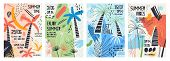 Collection Of Invitation Or Poster Templates Decorated With Tropical Palm Trees, Paint Stains, Blots poster