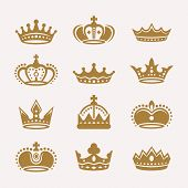 Set Of Gold Crowns Isolated Vector Icons, Royal Crowns Silhouette, King Crowns Collection. Antique C poster