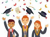 Young Happy Graduates With Graduate Caps And Falling Confetti. School Achievement Ceremony Finish Ed poster