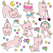 Cartoon Cute White Cat Unicorns. Funny Caticorn Kittens Vector Set. Character Funny Animal Kitten Wi poster