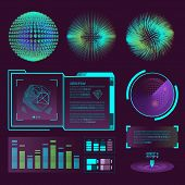 Futuristic Interface Space Motion Graphic Infographic Game And Ui Ux Elements Hud Design Graph Wave  poster