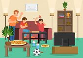 Cartoon Friends Fans Eat Pizza Watching Football Match On Tv. Vector Illustration. Clipart. Flat Sty poster
