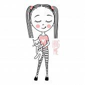 Cute Vector Girl With Cat. Sketch Style. Young Model. Stylish Teenager. Pretty Teen. Cartoon Baby Gi poster