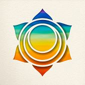 Svadhisthana, 2nd Sacral Chakra Illustration In Paper Cut Style. Colorful Watercolor Background, Yog poster