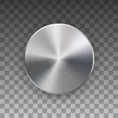 Metal Circle Badge, Blank Button Template With Metallic Texture, Chrome, Silver, Steel And Realistic poster