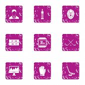 Sport Pulse Icons Set. Grunge Set Of 9 Sport Pulse Vector Icons For Web Isolated On White Background poster
