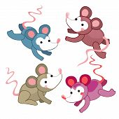 Set Of Cute Mouse In Different Colors. Positive Attitude. Hand Draw Vector Mouse. Can Be Used As A S poster