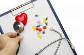 Cardiogram With Stethoscope And Red Heart On Table, Closeup poster