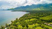 Aerial view of Pemuteran green coastline in Bali poster