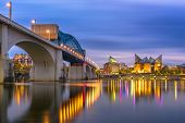 Chattanooga, Tennessee, USA downtown skyline on the Tennessee River at dusk. poster