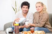 picture of concubine  - Couple having breakfast together - JPG