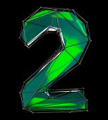 Number 2 two in low poly style green color isolated on black background. 3d rendering poster