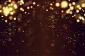 Abstract Defocused Circular Golden Luxury Gold Glitter Bokeh Lights Background. Magic Background. Ep poster