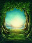Dark magic forest and sunshine poster