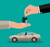 Hand Gives Car Keys To Another Hand. Buy, Rental Or Lease Car. Exhibition Pavilion, Showroom Or Deal poster